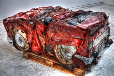 Compressed car by César; Musée d'Art Contemporain, Marseille.